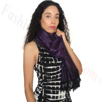 Floral Paisley Border Pashmina Dark Purple