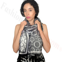 Circle Design Pashmina Black/Silver