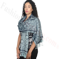 Circle Design Pashmina Navy/Light Blue
