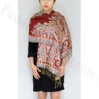 Gorgeous Paisley Pashmina Red/Steel Blue