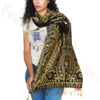 Giant Paisley Flower Pashmina Black