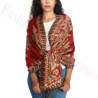 Giant Paisley Flower Pashmina Red/Black