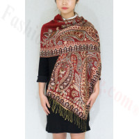 Gorgeous Paisley Pashmina Red/Black