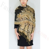 Gorgeous Paisley Pashmina Black/Gold