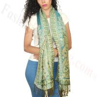Gorgeous Paisley Pashmina Turquoise/Green Dozen (12 Pcs)