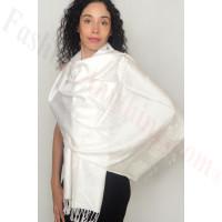 Rose Border Pashmina White