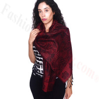 Rose Border Pashmina Dark Red