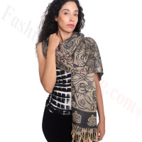 Rose Border Pashmina Navy/Beige