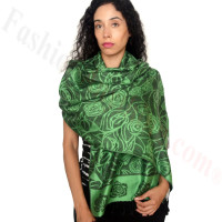 Rose Border Pashmina Green