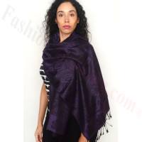 Rose Border Pashmina Dark Purple