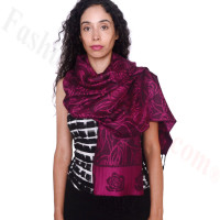 Rose Border Pashmina Hot Pink