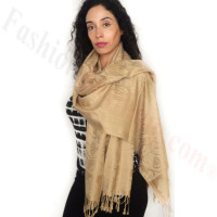 Rose Border Pashmina Gold