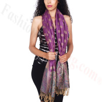 Dots Paisley Pashmina Purple