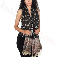 Dots Paisley Pashmina Black/ Wine