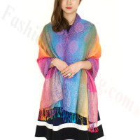 Paisley Rainbow Pashmina Multi Purple