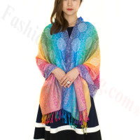 Paisley Rainbow Pashmina Multi Light Blue