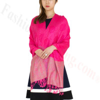 Paisley Leaves Pashmina Hot Pink