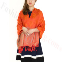 Paisley Leaves Pashmina Orange