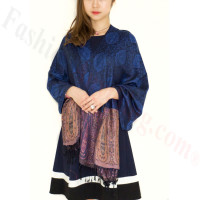 Paisley Leaves Pashmina Blue / Black