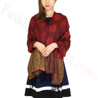 Paisley Leaves Pashmina Red / Black