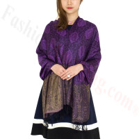 Paisley Leaves Pashmina Purple / Black