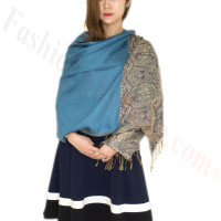 Luxury 2ply Pasiley Pashmina Teal Blue