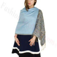 Luxury 2ply Pasiley Pashmina Light Blue