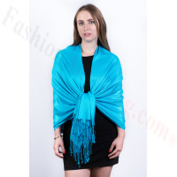 Silky Soft Solid Pashmina Scarf Bright Blue