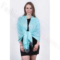 Silky Soft Solid Pashmina Scarf Aqua Dozen (12 Pcs)