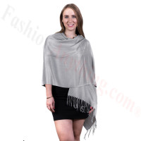 Silky Soft Solid Pashmina Scarf Ash Grey
