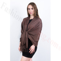 Silky Soft Solid Pashmina Scarf  Dark Chocolate
