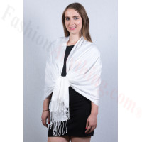 Silky Soft Solid Pashmina Scarf White