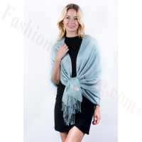 Powder Blue Solid Pashmina Label Scarf