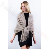 Beige Grey Solid Pashmina Label Scarf