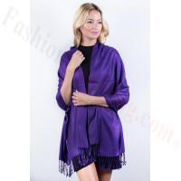 Purple Solid Pashmina Label Scarf