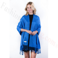 Royal Blue Solid Pashmina Label Scarf