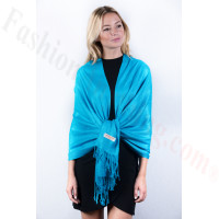 Deep sky blue Solid Pashmina Label Scarf