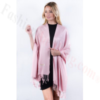 Pink Blush Solid Pashmina Label Scarf