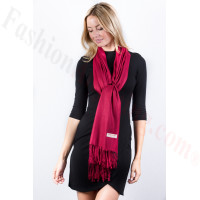 Burgundy Solid Pashmina Label Scarf