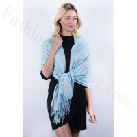 Light Blue Solid Pashmina Label Scarf