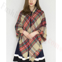 Oversized Blanket Shawls Beige/Red