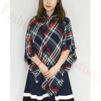 Oversized Blanket Shawls Navy/Red