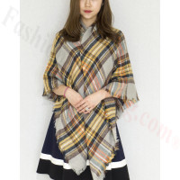 Oversized Blanket Shawls Grey/Yellow