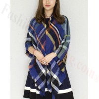 Oversized Blanket Shawls Multi Royal Blue