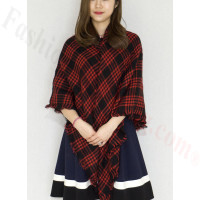 Oversized Blanket Shawls Black/Red