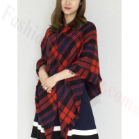 Oversized Blanket Shawls Red/Navy