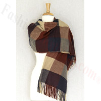 Cashmere Feel Colorblocked Shawl Navy / Burgundy