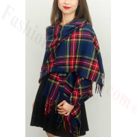 Cashmere Feel Plaid Z8 Shawl Navy