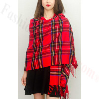 Cashmere Feel Plaid Z8 Shawl Red