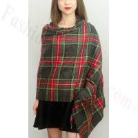 Cashmere Feel Plaid Z8 Shawl Dark Grey